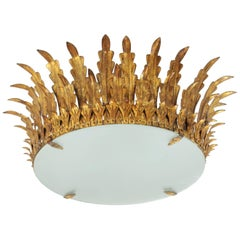 Large Spanish Gilt Iron & Glass Crown Sunburst Light Fixture with Frosted Glass