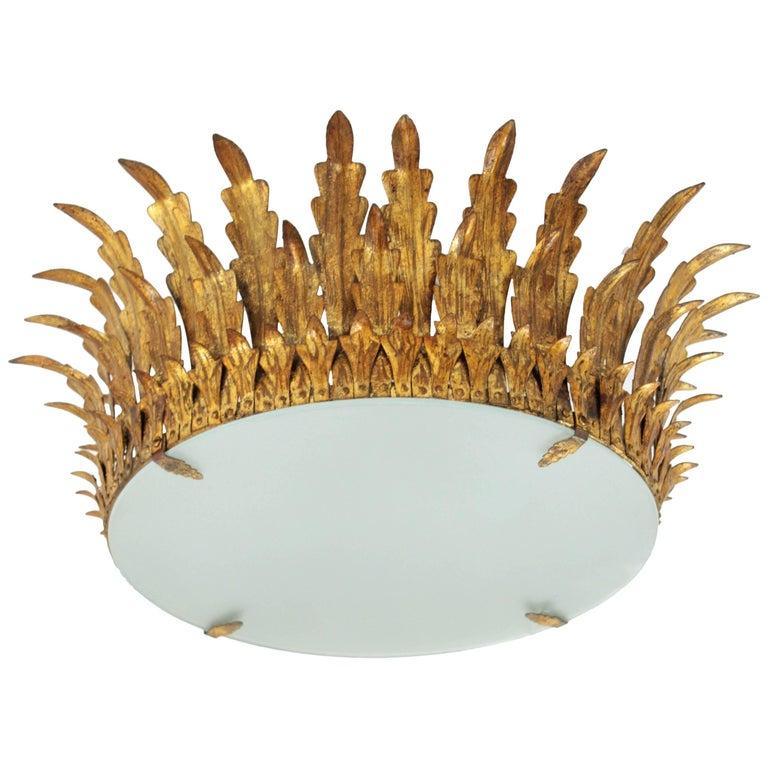 Large Gilt Iron & Glass Sunburst Crown Light Fixture or Chandelier, Spain 1940s For Sale