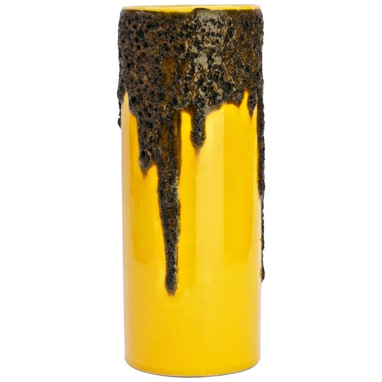 1970s Bright Yellow West German Pottery Fohr Vase with Black Lava Glaze
