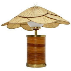 Rattan Vintage Table Lamp by Ingo Maurer, 1970s, Germany