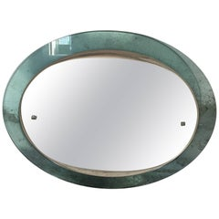 Italian Wall Mirror with Glass Frame, Max Ingrand for Fontana Arte, 1950s