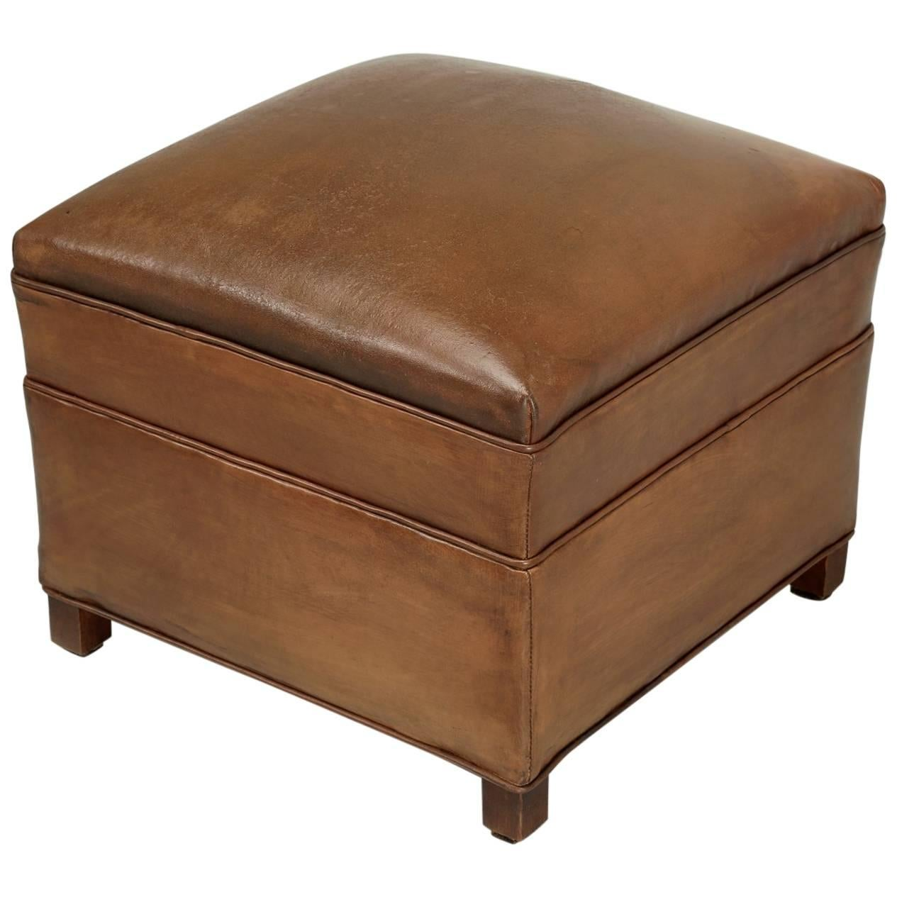 French Leather Club Chair Ottoman For Sale