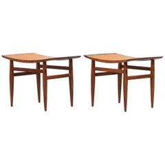 1950s Cane and Walnut Stools by Kipp Stewart 'B'