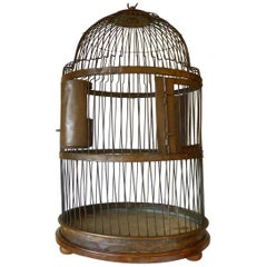 Large Brass and Walnut Bird Cage, 19th Century