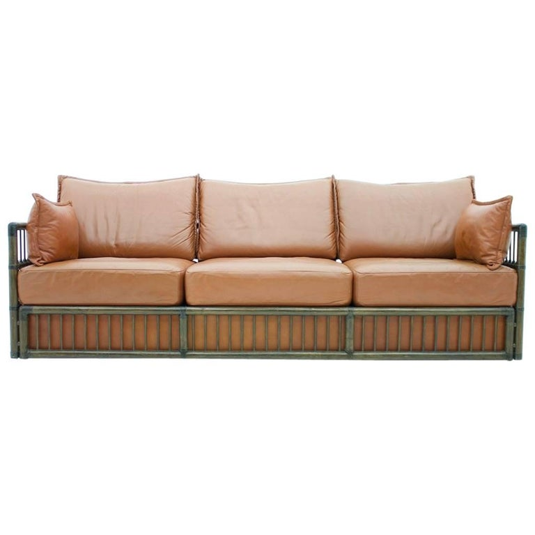 Three Person Leather Sofa with Rattan 1978