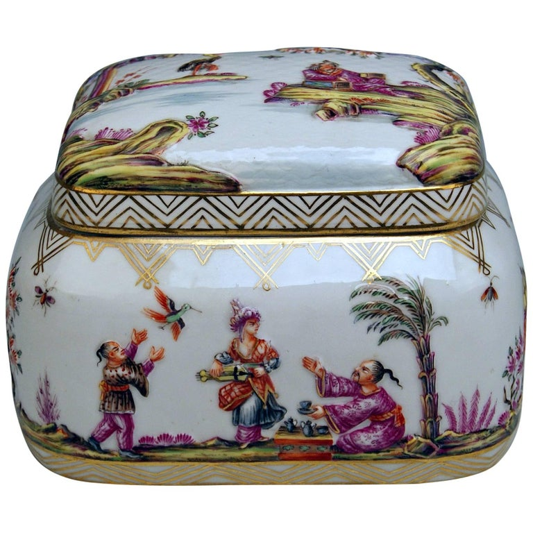 Meissen Painted Lidded Box Relief Decoration Chinoiseries Made circa 1850 1