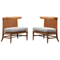 1950s Brown Walnut and Cane Lounge Chairs by Lubberts / Mulder 'b'