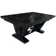 1930s Dining Table In Black Lacquer French Art Deco