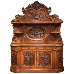 Large 19th Century French Carved Rosewood Hunt Buffet with Deer and Bird Motifs