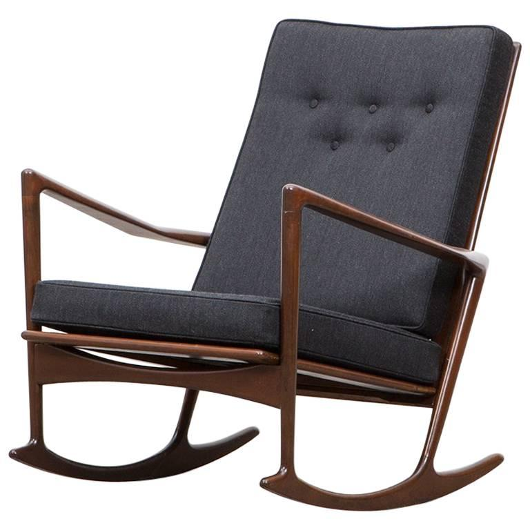 1960s Brown Walnut Frame and Upholstery Seat Rocking Chair by Ib Kofod-Larsen