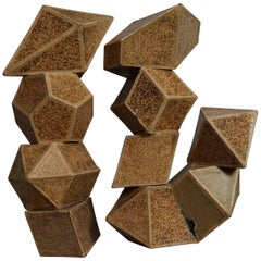 Set of Nine Geometric 1920s Cardboard Science Classroom Crystal Models