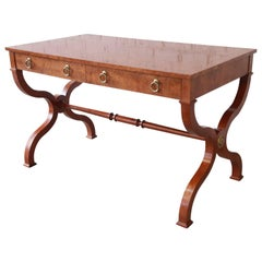 Baker Furniture Burl Wood Regency Style Writing Desk or Library Table