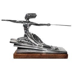 'Amazonian' by Marcel Andre Bouraine, an Art Deco Silvered Bronze Figurine