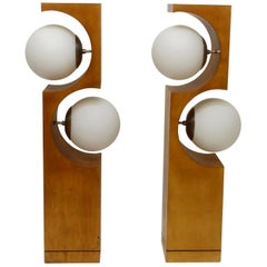 Pair of Mid-20th Century Milo Baughman Wood Cut-Out Lamps