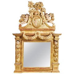 Late 17th Century Carved Giltwood and Polychrome Tabernacle Frame/Mirror