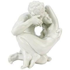 Art Deco Dahl Jensen Erotic Porcelain Nude Man and Woman Paradise Figurine