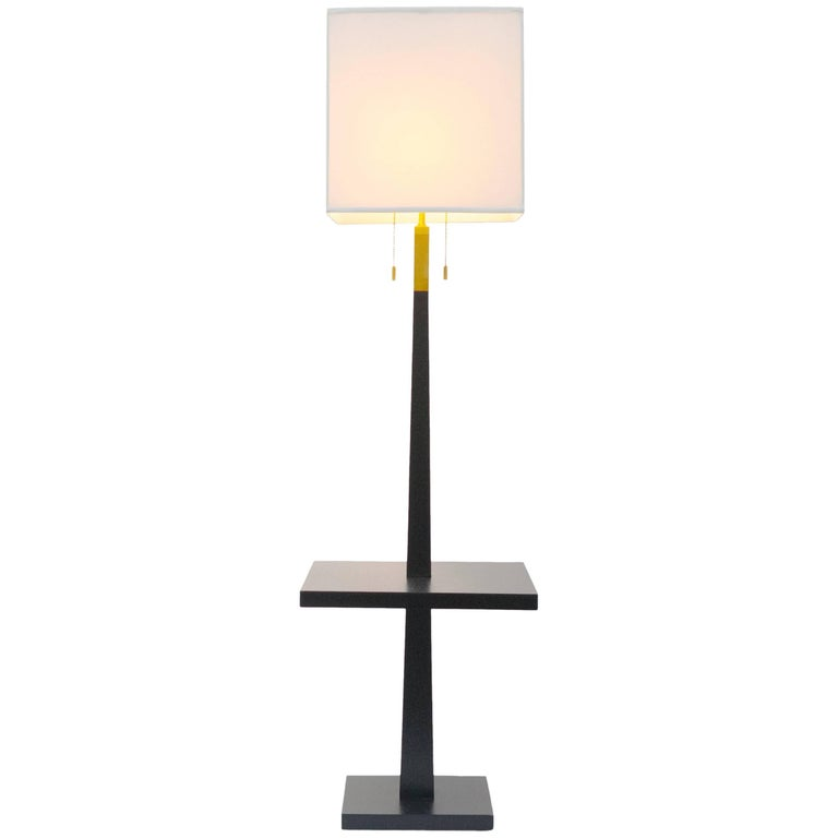 Tommi Parzinger, Black Lacquered Floor Lamp with Built in Side Table, 1960s