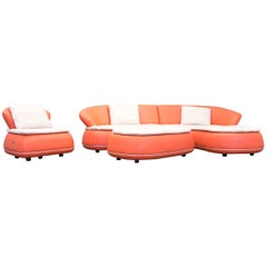 Nieri Designer Corner Sofa Set Leather Orange Crème Couch Modern