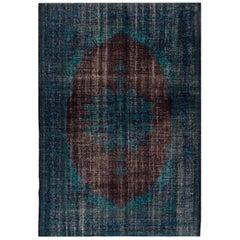 Vintage Blue/Brown Distressed Overdyed Carpet