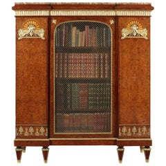 Late 19th Century Empire Style Birds-Eye Maple and Gilt-Bronze Bibliotheque