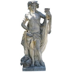 Early 20th Century Italian Bacchus Statue in Hand-Carved Limestone