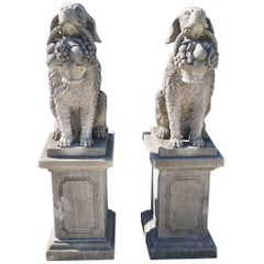 Early 20th Century, a Pair of Tuscan Hunting Dogs in Limestone