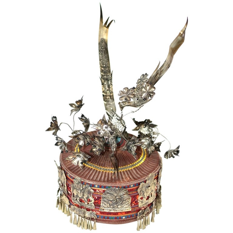 Tribal Hat Crown with Silvered Ornaments