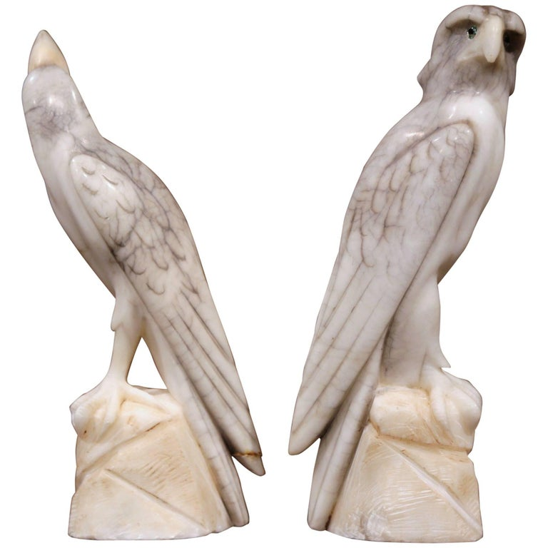 Pair of 19th Century French Carved Marble Eagle and Falcon with Glass Eyes