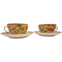 Hermès Siesta Porcelain Set of Two Breakfast Cups and Saucers