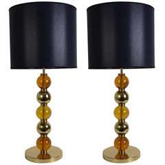 Pair of Murano Glass Lamps in the Style of Seguso