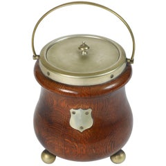 Vintage English Wood Biscuit Barrel