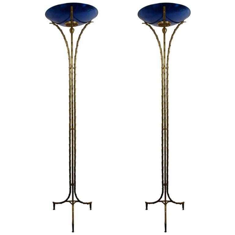 Rare Pair of Floor Lamps by Maison Baguès