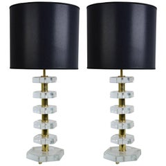 Pair of Lamps in the Style of Jacques Adnet