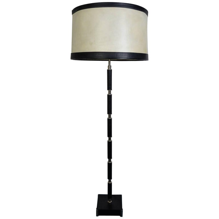 Leather and Goatskin Shade Floor Lamp in the Style of Jacques Adnet