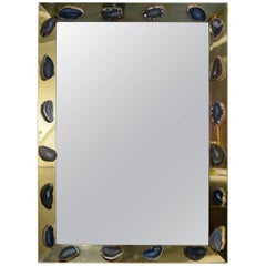 One of a Kind Agates Mirror in the Style of Georges Mathiasa