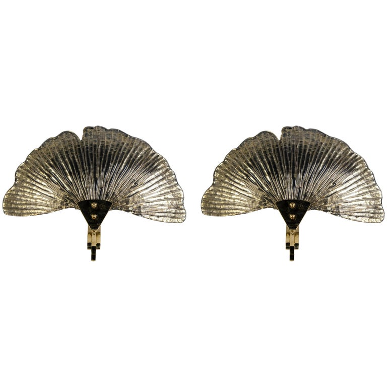 Pair of Unusual Murano Glass Ginko Leaves Sconces