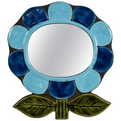 1970s Ceramic Mirror by Catherine Benito