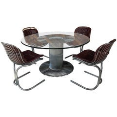 Stunning Vintage Italian Five-Piece Chrome Dining Set by Gastone Rinaldi