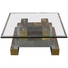 Vintage Chrome and Brass Coffee Table in the Manner of Paul Evans