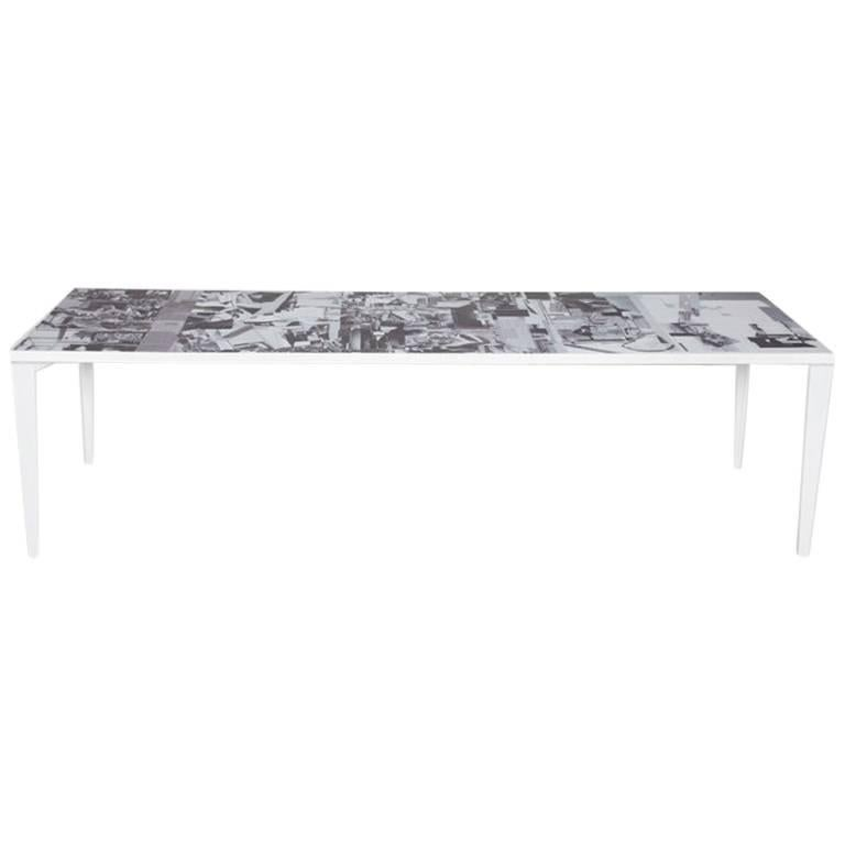Contemporary Dining Table With Metal Base and Oak Collage Design Top