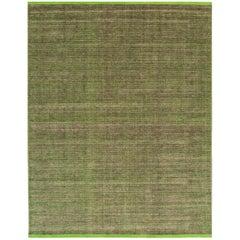 Large Modern Light Green or Lime Indian Boho-Style Carpet