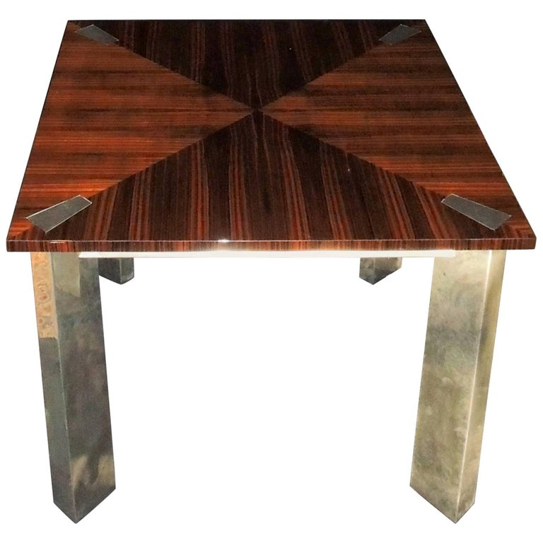 Wonderful Midcentury Macassar Ebony Polished Nickel Square Art Deco Game Table