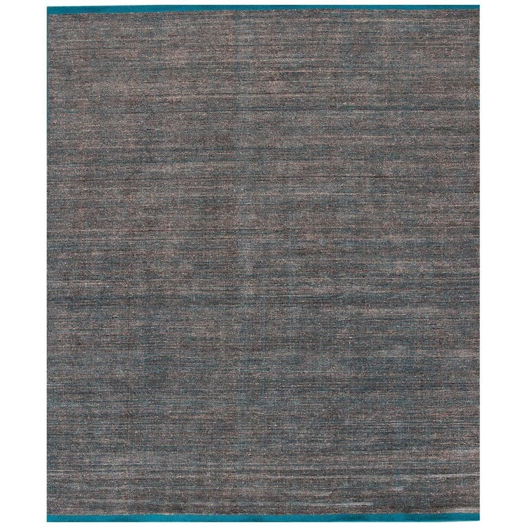 Large Modern Teal/Silver Indian Boho-Style Carpet For Sale