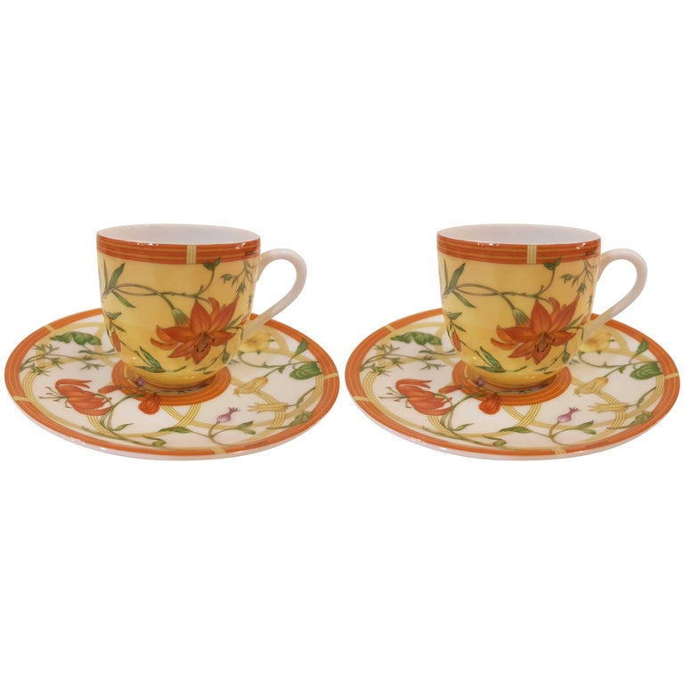 Hèrmes Siesta Set Of Two Porcelain Coffee Cups And Saucers For