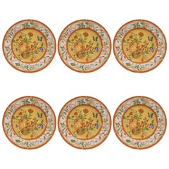 Hermès Porcelain Siesta Pattern Set of Six Cake Plates