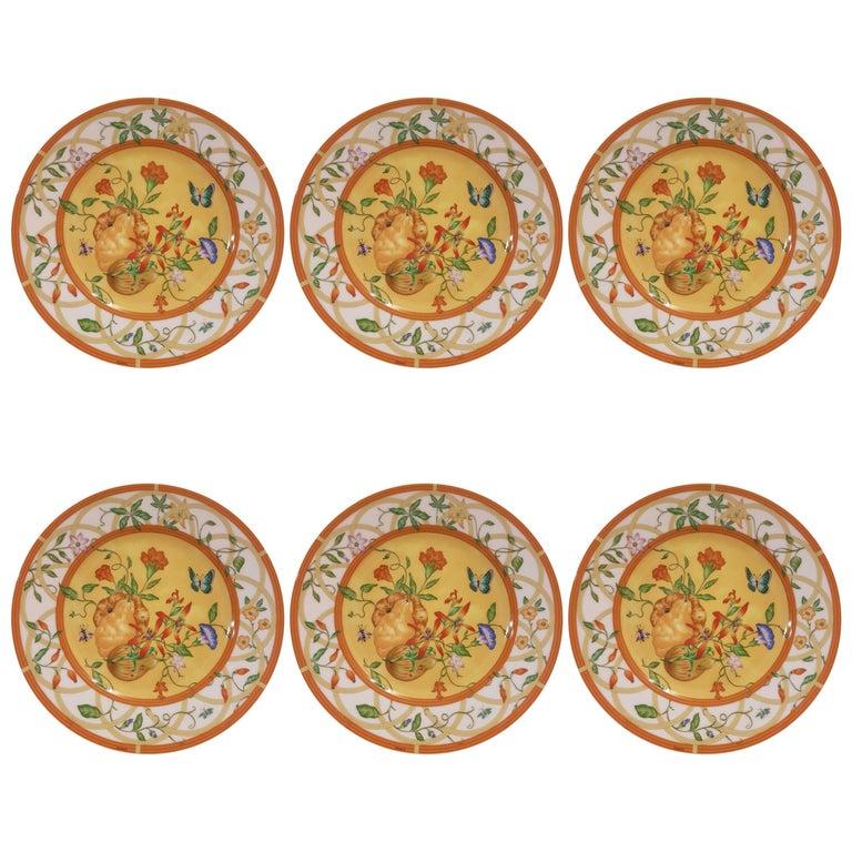 Hermès Porcelain Siesta Pattern Set of Six Cake Plates