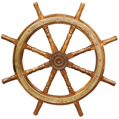 19th Century French Carved Walnut and Iron Sailboat Wheel
