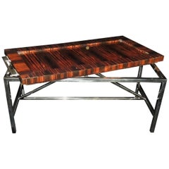 Wonderful Midcentury Macassar Ebony Polished Nickel Deco Tray Top Coffee Table