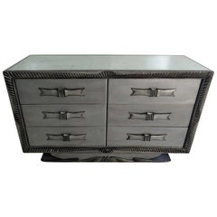 Silver Distressed Mirrored Dresser