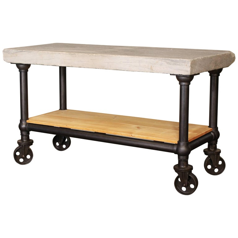Industrial Marble Slab Kitchen Island Rolling Table